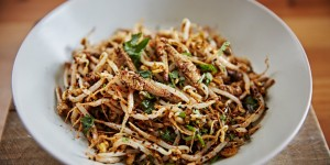 spicy grasshoppers with beansprouts